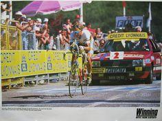 "Bad photo,great image:Greg Lemond in the Lac de Vassiviere time trial which won him the 1990 Tour De France for Team ""z"""