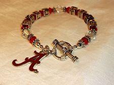 Alabama Crimson~Roll Tide~Jewelry~Logo Charm~Swarovski Crystal~Artisan