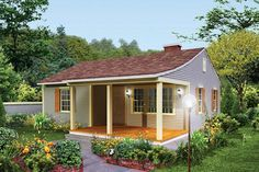 Cottage Style House Plan - 2 Beds 1 Baths 733 Sq/Ft Plan #57-499 Exterior - Front Elevation - Houseplans.com