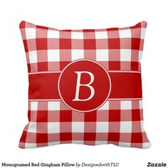 Monogramed Red Gingham Pillow