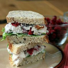 Yogurt chicken salad with cranberries & pecans......at www.theyummylife.com