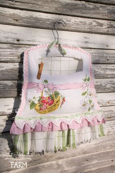 Vintage Strawberry Clothespin bag ~ Sweet Magnolias Farm Original ~ available in our Etsy Shop