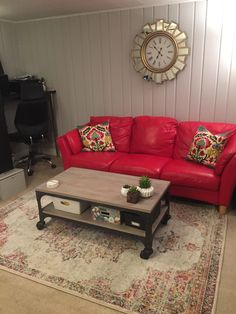 pretty nice 0418b efc86 Decorating with a red leather couch, a little bohemian, a little  industrial, a little Art Deco