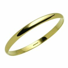 Ladies solid 9 inch wrist 9ct yellow Gold 6mm D shape Bangle 27 grams