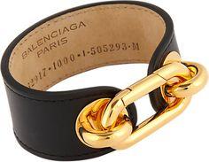 Balenciaga Gold & Leather Mallion Cuff -  - Barneys.com