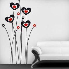 Vinilos Decorativos Flores del Corazón Simple Wall Paintings, Creative Wall Painting, Creative Wall Decor, Wall Painting Decor, Diy Wall Art, Creative Walls, Decoration, Art Decor, Room Partition Designs