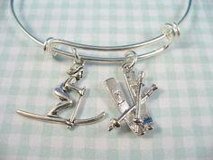 Skier Skis and Ski Poles Silver Bangle Bracelet by DesignsBySuzze, $16.99