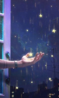 Raining of Stars, Goodnight Galaxy Wallpaper, Wallpaper Backgrounds, Digital Foto, Star Illustration, Star Art, Girly Pictures, Anime Scenery, Moon Art, Stars And Moon