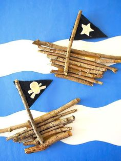 Nature Crafts Nature Stick Pirate Ships CraftYou can find Ships and more on our website. Pirate Kids, Pirate Day, Pirate Birthday, Pirate Theme, Pirates For Kids, Pirate Ship Craft, Pirate Crafts, Craft Stick Crafts, Preschool Crafts