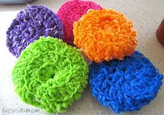 Crochet these colorful and useful kitchen scrubbers with this free pattern.