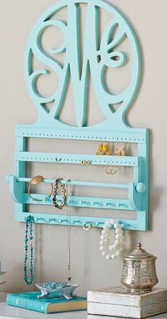 Cute monogram wall jewelry shelf - love the color! This would be so cute in my room Jewellery Storage, Jewelry Organization, Home Organization, My New Room, My Room, Rosa Rose, Idee Diy, Monogram Gifts, Christmas Wishes