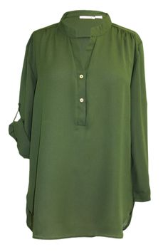 Plus Size V-Neck Chiffon Blouse with Convertible Sleeves