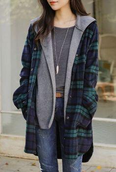 Hooded knit in plaid jacket korean fashion Korean Fashion Trends, Korean Street Fashion, Asian Fashion, Korea Fashion, Korean Casual Fashion, Korean Women Fashion, Fashion Photo, Trendy Fashion, Womens Fashion