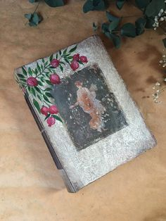 Rustic Wedding Guest Book| Romantic Wedding Guest Book| Hand painted Pomegranates | Italy Vacation Photo Album | 9X6'' Ready To Ship