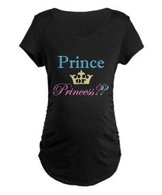 Look at this #zulilyfind! Black 'Prince or Princess?' Maternity Tee #zulilyfinds