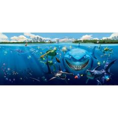Némó és a cápa gyerek poszter (202 cm x 90 cm) Pixar, Poster Mural, Decoration, Disney, Aquarium, Sci Fi, Explorer, Jouer, Parfait