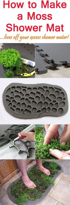 How to Make a Moss Shower Mat I WANNA MAKE THIS! A shower mat that feels good on your feet and lives off the excess water from your shower. Talk about recycling! Moss Bath Mats, Garden Beds, Home And Garden, Plantar, Plantation, Gardening Tips, Organic Gardening, Indoor Gardening, Home Projects