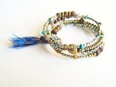 Ethnic Bohemian Bracelet, Boho Chic Jewelry, Boho Luxe Gemstone Bracelet
