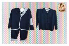 Buzo y chaleco confeccionados en algodón peruano Tallas: 3 a 18 meses Buzo: $17.990 Chaleco: $17.990