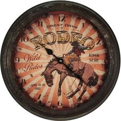 """15"""" diameter glass covered clock with tin outer frame features a great rusted / weathered looking finish.  Uses 1 AA battery (not included)."""
