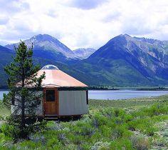 Yurt in a Colorado landscape from the Colorado Yurt Company