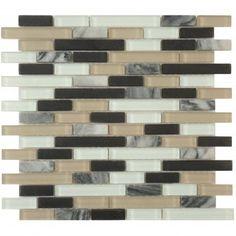 Jet Black Random Bricks Glass and Stone Frosted Tile