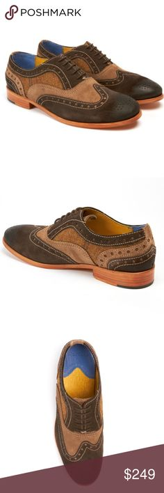 Robert Graham Empire brown suede lace up oxfords Stunning Oxford lace up from Robert Graham. Mix of dark brown and tan suede with wool tweed inset. Asymmetrical wingtip, Leather sole. Robert Graham Shoes Oxfords & Derbys