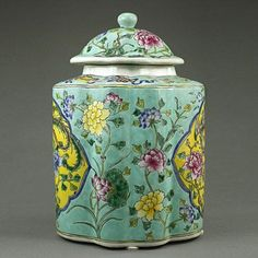 CHINESE TURQUOISE GROUND JAR WITH COVER, decorated with Phoenix and Chinese peonies. The color tone is very vibrant. Mark at the bottom: Kangxi Period of the Qing Dynasty (1654-1722). H: 14 5/8 in.