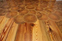 Heart Pine log ends flooring