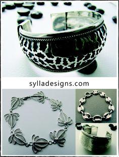 Hand-worked silver bracelets Silver Bracelets, Objects, Cleaning, Jewels, Tableware, How To Make, Design, Art, Silver Cuff Bracelets