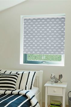 We've got our head in the clouds dreaming about this fun design from our new Roller blind range. The Cloud Nine Grey blind features cartoon clouds in a contemporary grey colour making it the perfect choice for children's bedrooms and nurseries! Grey Roller Blinds, Grey Blinds, Roller Shades, Vertical Window Blinds, Blinds For Windows, Cloud Bedroom, Teen Bedroom, Bedroom Ideas, Bedrooms