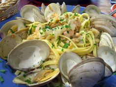 Linguini & Clams.  Summer goal #2 - tryout linguini and clam recipes and make a moderately low-fat version.  Exciting!