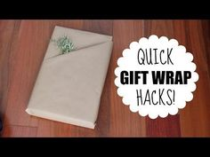 Gift Wrapping Hacks! Here are two simple ways to wrap your gifts to create a pocket and your own gift bag!  Both take between 30 seconds and 1 minute to do (and the DIY gift bag will even save you money).