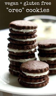"Make your own gluten free and vegan ""oreo"" cookies at home...bet you can't eat…"