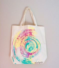 c0a7a71e1 Canvas Tote Bag Durable Pink Vegan by ResemblesMe on Etsy Painted Canvas  Bags, Canvas Tote