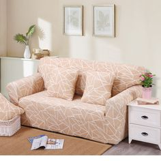 Removable Stretch Sofa Cover Big Elasticity Couch Cover Funiture Cover  Flower Design 4 Colors  Machine Washable