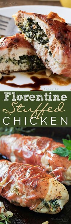 Florentine Stuffed Chicken | This Florentine stuffed chicken is filled with a deliciously cheesy spinach mixture, and toasted pine nuts, then wrapped in prosciutto and baked!