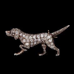 A rose cut diamond dog brooch, 1930's. Gold/silver. Box.. - Vintage & Jewellery, Stockholm S200 – Bukowskis