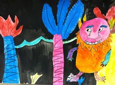 """This post is looooooong overdue, as my third graders made these super-cute (ferocious?) Wild Things based off the book """"Where the Wild Thi. Kids Activity Books, Book Activities, Book Study, Children's Literature, Art Lesson Plans, Heart Art, Wild Things, Art Club, Art Lessons"""