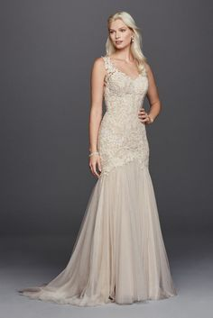 Extra Length Beaded Venice Lace Trumpet Wedding Dress - Ivory / Champagne, 12
