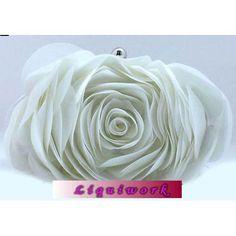 White Silk Rosette Wedding Bridal Party Evening Clutch Purses Bags  SKU-1110389