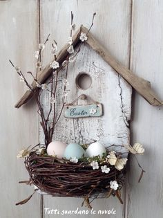 Simple+and+Sweet+Bird's+Nest+Easter+Display  Front door might accommodate this, even with the storm door on.