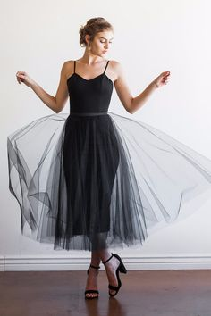 The perfect versatile black dress with detachable tulle skirt | Cleo + Clementine