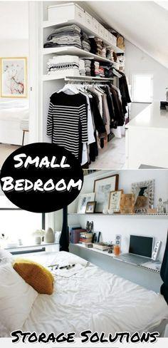 Small bedroom storage solutions - storage ideas for small bedrooms - great DIY ideas for all small spaces #bedroomideas #organizationideasforthehome #closetorganization #organizingideas #lifehacks