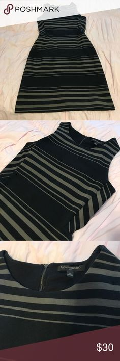 "Pointe banana dress EUC like new. Sad to part with this beautiful fitted pointe jersey dress. Army green and black stripe. Back zip. Great quality. Thicker material but breaths easy. 36"" Banana Republic Dresses Midi"