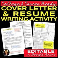 Resume and Cover Letter Writing for College & Career Readiness by Tracee Orman Research Writing, Writing Resources, School Resources, Teacher Resources, Teaching Ideas, Resume Writing, Writing Prompts, Writing Lessons, Middle School English