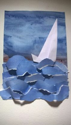 torn paper waves with boat Projects For Kids, Diy For Kids, Art Projects, Summer Crafts, Summer Art, Classe D'art, Sea Crafts, Ecole Art, Art Lessons Elementary