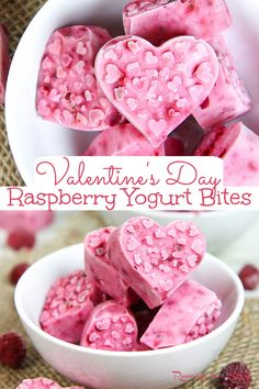 Raspberry Yogurt Bites- Valentine's Day Healthy Snack for kids or adults. Only 4 Ingredients! This healthy greek yogurt bite recipe uses yogurt and raspberry. Freeze in heart shaped molds for a Valentine's Day snack for toddler or for school. A simple, clean eating and easy Valentine's Day idea. / Running in a Skirt #vegetarian #healthy #valentinesday #healthyvalentinesday #healthyliving #toddlerfood #snacks Easy Snacks, Healthy Snacks, Healthy Recipes, Healthy Sweets, Valentine Desserts, Valentines, Funny Valentine, Yogurt Bites, Healthy Bars