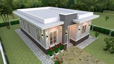 Small House Layout, Small House Plans, House Layouts, House Front Design, Small House Design, Small Cottage Designs, Affordable House Plans, Flat Roof House, Classic House Exterior