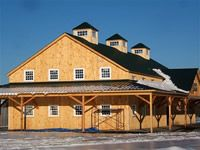 specializing in elegant and artistic barns using a modified post and beam structure and timber frame Barn Builders, Beam Structure, Post And Beam, Modern Barn, Massachusetts, Barns, Commercial, House Styles, Building